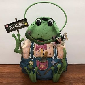 NWT Welcome Frog Votive Candle Holder Home Decor